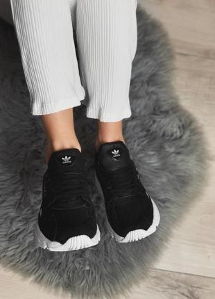 Шикарные женские кроссовки adidas falcon black/ white 😍 (весна/ лето/ осень)6