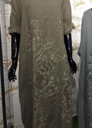 Платье лен большой размер1