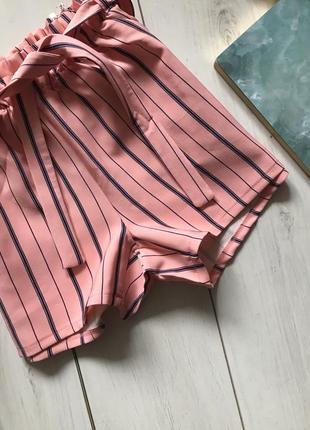 Персиковые шорты в полоску с высокой посадка под пояс рюшка2