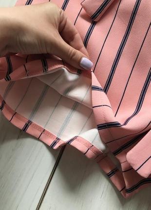Персиковые шорты в полоску с высокой посадка под пояс рюшка4