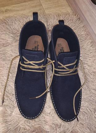 Мужские замшевые туфли ботинки на шнурках синие