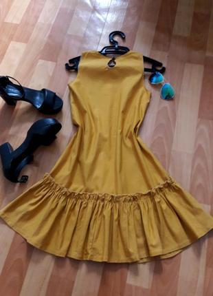 Гірчична котонова сукня4