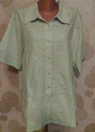 Льняная блуза рубашка цвета мяты с кружевом1
