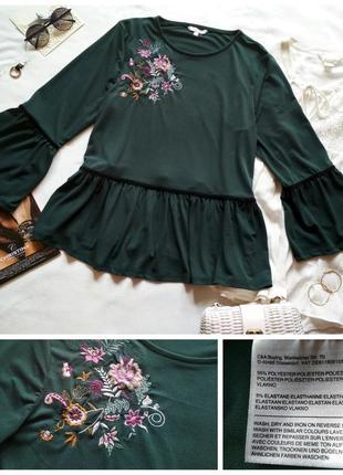 Шикарна блуза з вишивкою воланами та оксамитовими вставками/блузка/топ1