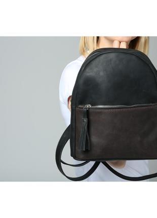 Черный кожаный женский рюкзак1