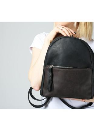 Черный кожаный женский рюкзак2