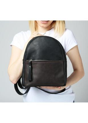 Черный кожаный женский рюкзак3