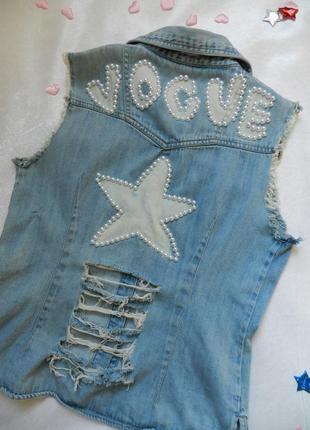 ✅ рваная джинсовая жилетка с жемчугом