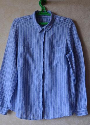 Голубая рубашка в полоску 100% лен /хлопок marks & spencer1