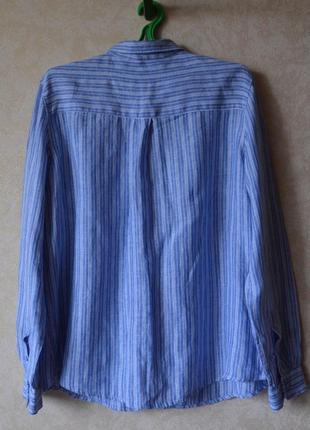 Голубая рубашка в полоску 100% лен /хлопок marks & spencer2