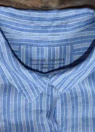 Голубая рубашка в полоску 100% лен /хлопок marks & spencer3