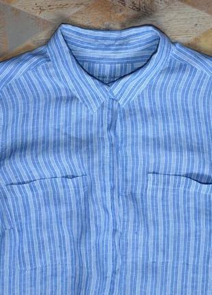 Голубая рубашка в полоску 100% лен /хлопок marks & spencer4