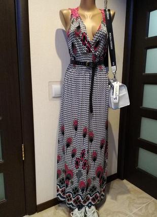 Супермодное летящее платье-сарафан макси натуральный шелк1
