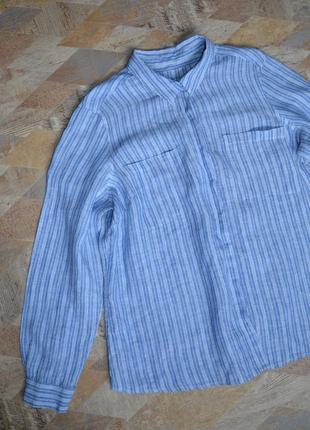 Голубая рубашка в полоску 100% лен /хлопок marks & spencer5