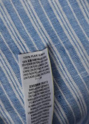 Голубая рубашка в полоску 100% лен /хлопок marks & spencer7