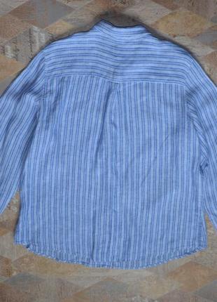Голубая рубашка в полоску 100% лен /хлопок marks & spencer8