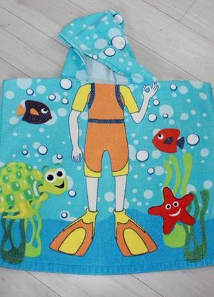 Полотенце пончо для пляжа хлопок2 фото