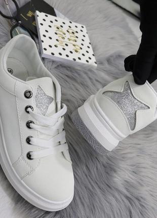 Новые шикарные женские белые кроссовки3