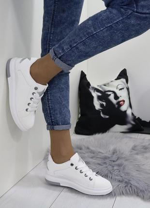 Новые шикарные женские белые кроссовки6