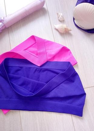 Набор: розовый бесшовный спортивный лиф, топ без бретелек + синий бандо2