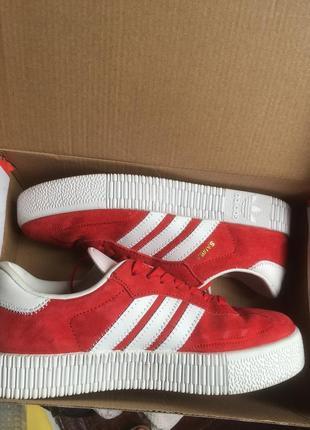 Яркие красные белые кросовки кеды адидас adidas samba1