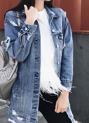 Крутая удлиненная джинсовая куртка, джинсовка re- dress. размер xs-s1
