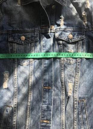 Крутая удлиненная джинсовая куртка, джинсовка re- dress. размер xs-s3