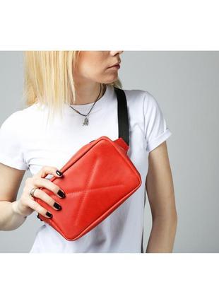 Кожаная красная поясная сумка