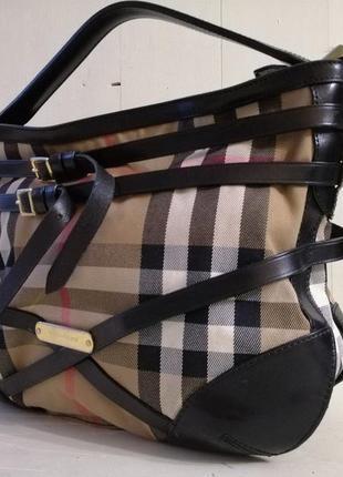 Burberry вместительная сумка,кожа /ткань2 фото