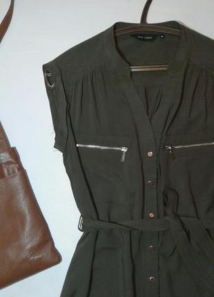 Стильное платье рубашка с поясом цвета хаки2