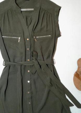 Стильное платье рубашка с поясом цвета хаки3
