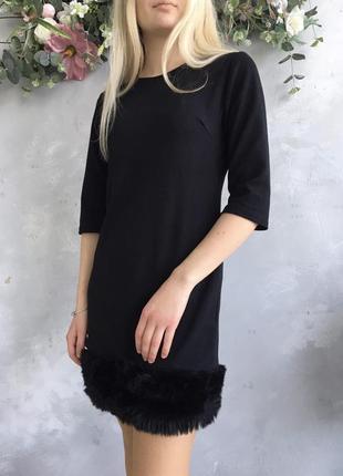 Черное платье с пушком violet (zara)4