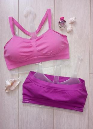 Набор подростоковый 2 шт: фиолетовый + розовый топ, лиф, бюстгальтер на бретелях s/m1