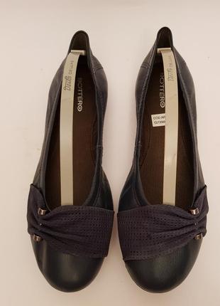Bottero! бразилия! красивые удобные кожаные балетки темно- синего цвета1