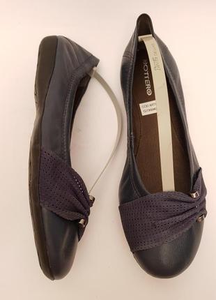 Bottero! бразилия! красивые удобные кожаные балетки темно- синего цвета3