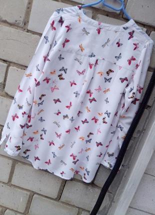 Вискозная блуза в принт бабочки раз. l-xl5