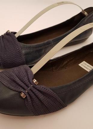 Bottero! бразилия! красивые удобные кожаные балетки темно- синего цвета5