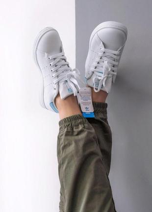 Шикарные женские кроссовки adidas stan smith white blue 😍 (весна/ лето/ осень)2
