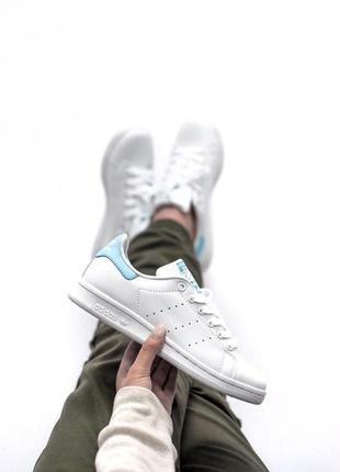 Шикарные женские кроссовки adidas stan smith white blue 😍 (весна/ лето/ осень)1