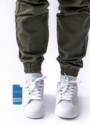 Шикарные женские кроссовки adidas stan smith white blue 😍 (весна/ лето/ осень)4