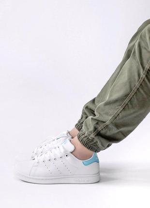 Шикарные женские кроссовки adidas stan smith white blue 😍 (весна/ лето/ осень)5