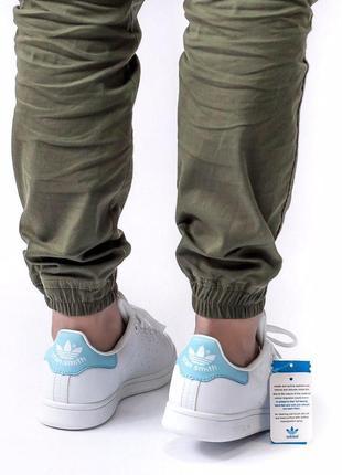 Шикарные женские кроссовки adidas stan smith white blue 😍 (весна/ лето/ осень)6