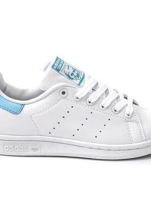 Шикарные женские кроссовки adidas stan smith white blue 😍 (весна/ лето/ осень)9