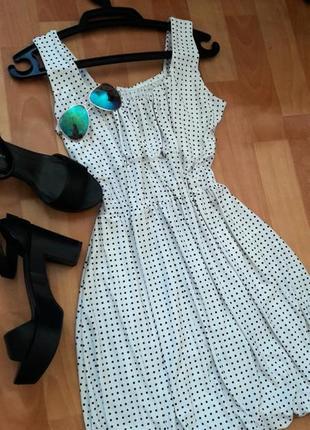 Романтична сукня-тюльпанчик в горошок4 фото