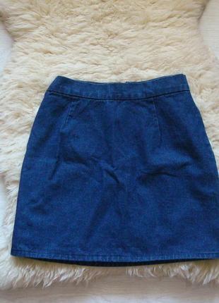 Трендовая джинсовая юбка из плотного котона