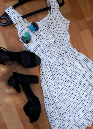 Романтична сукня-тюльпанчик в горошок5 фото