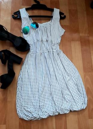 Романтична сукня-тюльпанчик в горошок6 фото