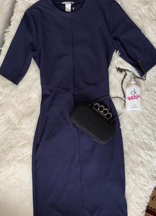 Платье-футляр  в рубчик h&m