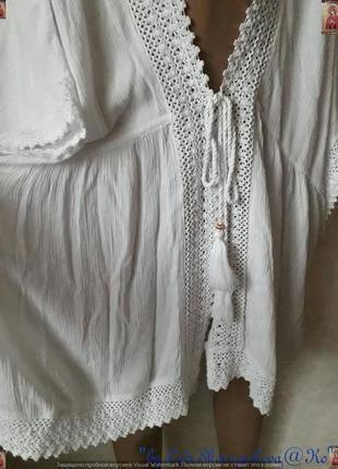 Новая фирменная f&f белоснежная  пляжная туника/накидка/кардиган,размер хл6