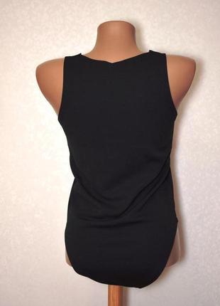 Черное боди, комбидрес c фигурным вырезом от new look размер uk 8/s2